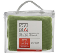Coprisedia Con Schienale Tinta Unita Verde Conf Da 2 Casa