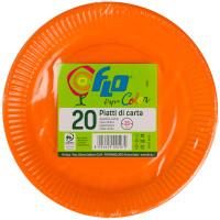 Piatti Usa & getta In Cartoncino Arancioni Flo Cm . 22