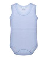 Body Neonato Spalla Larga Rigato Azzurro 100 % Cotone 24 / 30 Mesi