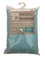 Lenzuolo Raso Tinta Unita Angoli 2 Pz Cm 180 x 200 Verde Casa Premium