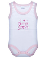 Body Neonata Spalla Larga 9 / 12 Bianco Bordo Rosa Intimami