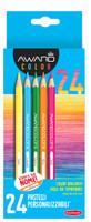 24 Pastelli Mina 2 , 9 mm Colori Brillanti Facili Da Temperare