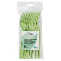 8 Forchette Compostabili Verdi
