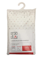 Lenzuolo Con Angoli Stampa Pois 2 Piazze Cm 180 x 200 Beige Casa