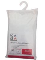 Lenzuolo Con Angoli Tinta Unita 2 Piazze Cm 180 x 200 Bianco Casa
