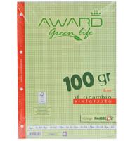 Ricambi A 44 mm Award Green Life Carta Fsc , 50 Fogli , 100 gr . Rinforzato