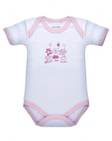 Body Neonata Mezza Manica 18 / 24 Bianco Bordo Rosa Intimami