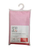 Lenzuolo Con Angoli Tinta Unita 2 Piazze Cm 180 x 200 Rosa Casa