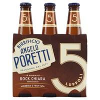 Birra Poretti Bock Chiara 5 Luppoli 3 Bottiglie Da Cl . 33
