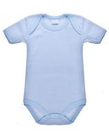 Body Neonato Mezza Manica Rigato Azzurro 100 % Cotone 18 / 24 Mesi
