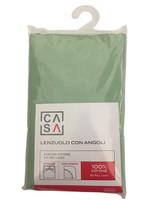 Lenzuolo Con Angoli Tinta Unita 2 Piazze Cm 180 x 200 Verde Casa