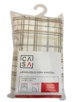 Lenzuolo Con Angoli Stampa Check 2 piazze Cm 180 x 200 Beige Casa