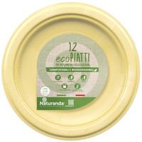 Piatto Usa & getta In Polpa Di Cellulosa Giallo Cm . 23 Naturanda , conf . da P