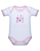 Body Neonata Mezza Manica 24 / 36 Bianco Bordo Rosa Intimami