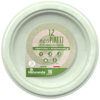 Piatto Usa & getta In Polpa Di Cellulosa Verde Cm . 23 Naturanda , conf . da Pz