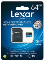 Memoria Micro Sd High Speed 633 x 64 gb Lexar