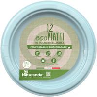 Piatto Usa & getta In Polpa Di Cellulosa Azzurro Cm . 18 Naturanda , conf . da