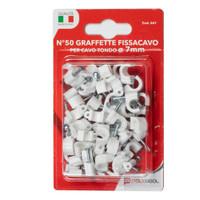 50 Graffette Fissacavo Per Cavo Tondo Da 7 mm Polypool