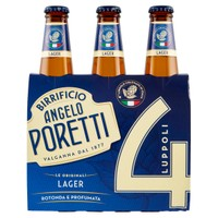 Birra Poretti Chiara 4 Luppoli 3 Bottiglie Da Cl . 33