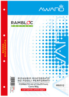 Ricambi A 4 Rigature Q 50 Fogli Perforati , 80 Gr ., Con Banda Antistrappo