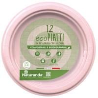 Piatto Usa & getta In Polpa Di Cellulosa Rosa Cm . 18 Naturanda , conf . da Pz .